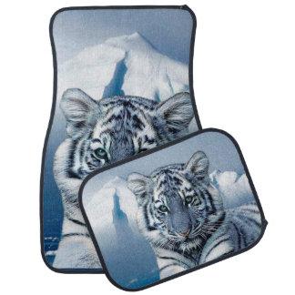 Blue White Tiger Car Mat