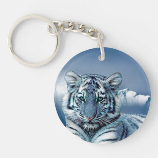 Blue White Tiger Double-Sided Round Acrylic Key Ring
