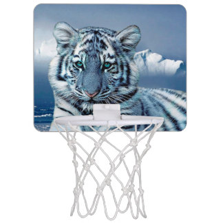 Blue White Tiger Mini Basketball Hoop