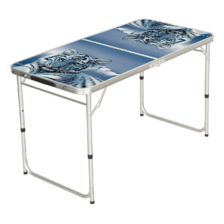 Blue White Tiger Pong Table