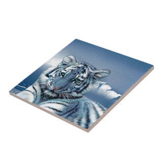Blue White Tiger Small Square Tile