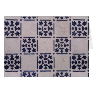 Blue White Tile Square Graphic Vintage Art Card