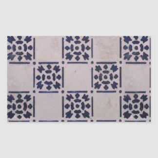 Blue White Tile Square Graphic Vintage Art Rectangular Sticker