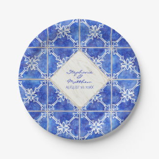 Blue White Tile Wedding Watercolor Rustic Country Paper Plate
