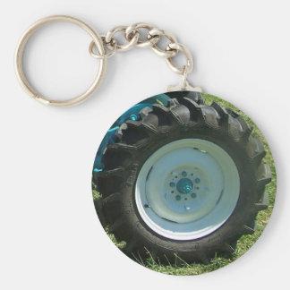 blue white tractor wheel basic round button key ring