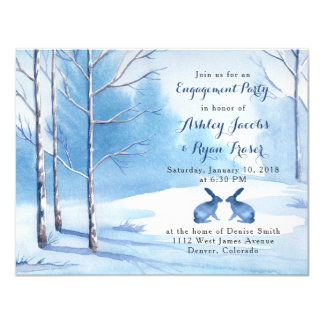 Blue White Trees Rabbit Winter Engagement Party Card