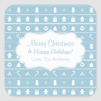 Blue White Ugly Christmas Sweater Icons Pattern Square Stickers