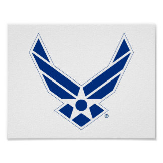 Blue & White United States Air Force Logo Poster