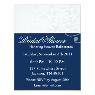 Blue & White Vintage Bridal Shower Invitations