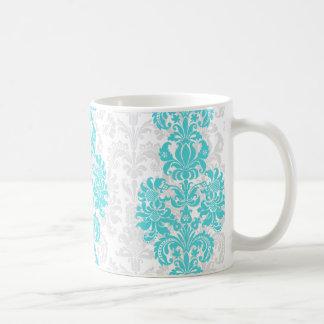 Blue & White Vintage Floral Damasks Classic White Coffee Mug