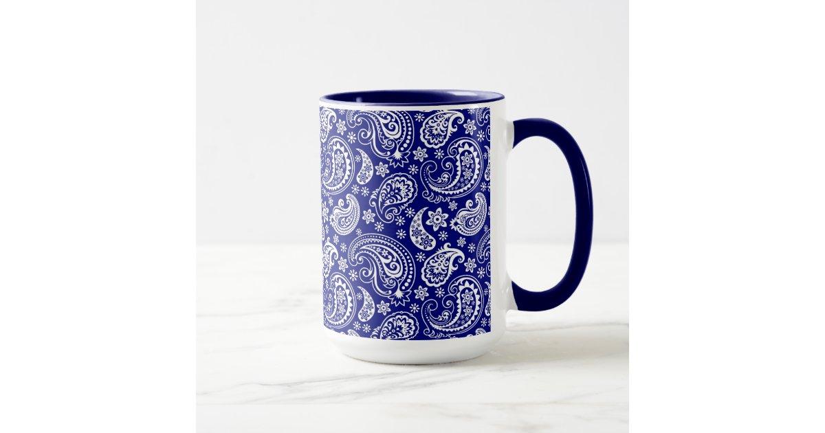 Blue white vintage floral paisley design mug for Blue mug designs