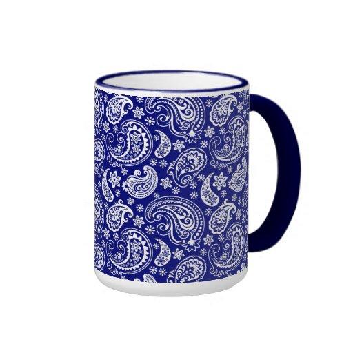 Blue white vintage floral paisley design ringer coffee for Blue mug designs