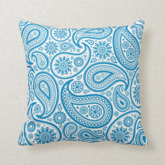 Blue & White Vintage Floral Paisley Throw Pillow