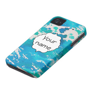 Blue white watercolor splashes Case-Mate iPhone 4 case