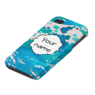 Blue white watercolor splashes iPhone 4/4S case