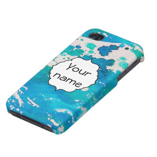 Blue white watercolor splashes iPhone 4 cover
