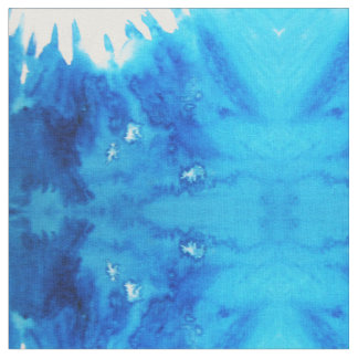 Blue White Watercolor Vibes Fabric