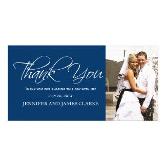 Blue White Wedding Thank You Photo Cards