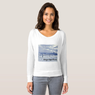 Blue White Winter Beach Michigan Long Sleeve Tee