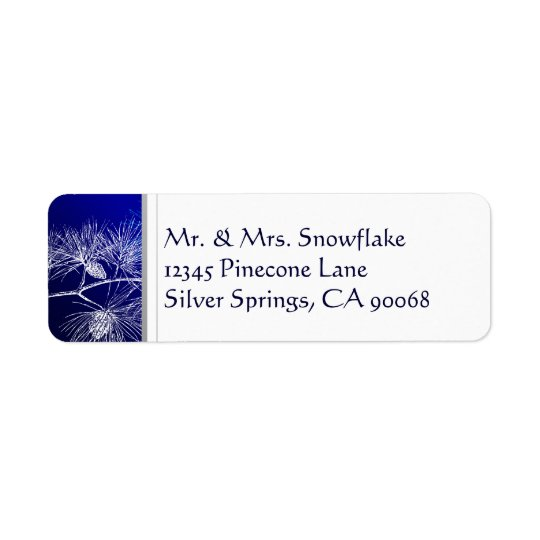 Blue White Winter Pine Custom Return Address Return Address Label