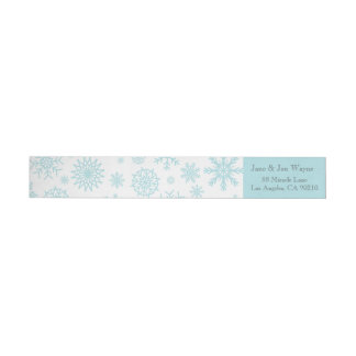 Blue White Winter Snowflake Christmas  Labels