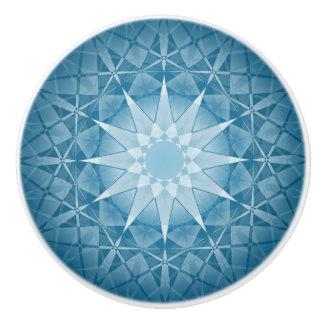 Blue White Winter Snowflake Round Pattern Ceramic Knob