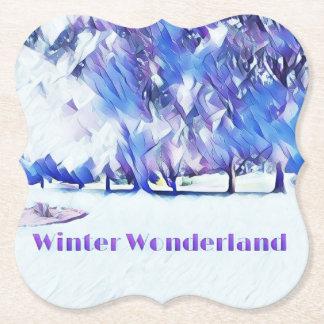 Blue White Winter Wonderland Artistic Landscape Paper Coaster