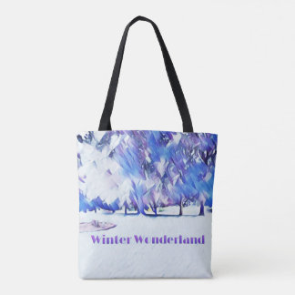 Blue White Winter Wonderland Artistic Landscape Tote Bag