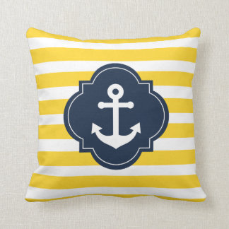 Blue White & Yellow Nautical Anchor Striped Pillow Cushion