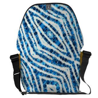 Blue White Zebra Abstract Messenger Bag