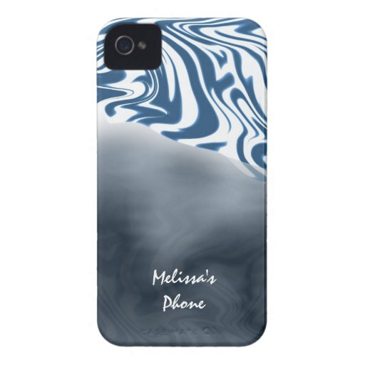 Blue White Zebra Print Blackberry Phone Case Case-Mate Blackberry Case