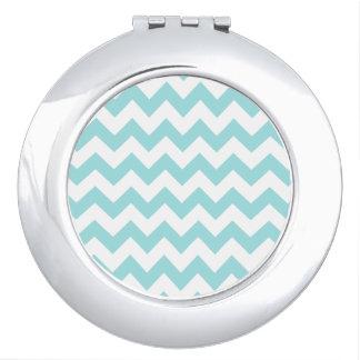 Blue White Zigzag Stripes Chevron Pattern Compact Mirrors