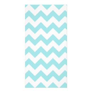 Blue White Zigzag Stripes Chevron Pattern Customized Photo Card