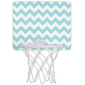 Blue White Zigzag Stripes Chevron Pattern Mini Basketball Hoop