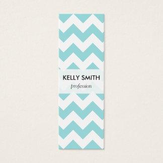 Blue White Zigzag Stripes Chevron Pattern Mini Business Card