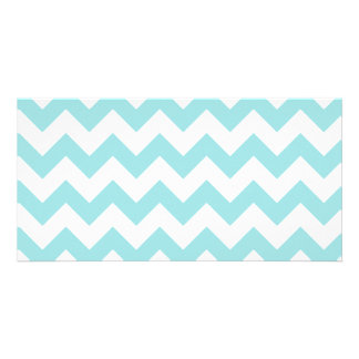 Blue White Zigzag Stripes Chevron Pattern Personalized Photo Card