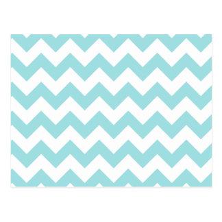 Blue White Zigzag Stripes Chevron Pattern Postcard