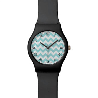 Blue White Zigzag Stripes Chevron Pattern Wristwatch