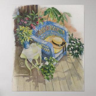 Blue Wicker Watercolor-Medium Poster
