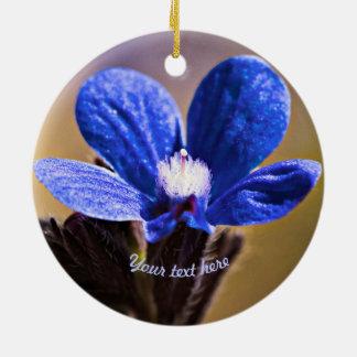 Blue Wild Flower Round Ceramic Decoration