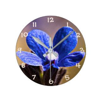 Blue Wild Flower Round Clock