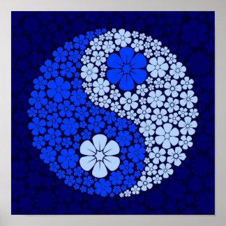 Blue Wild Flowers Yin Yang Poster