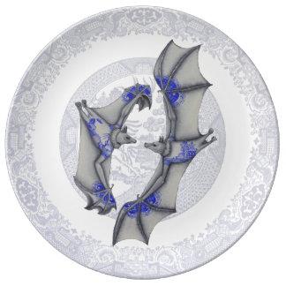 Blue Willow Bats Porcelain Plate