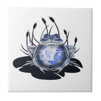 Blue Willow Bull Frog Ceramic Tile