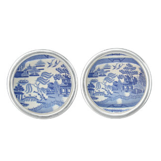 Blue Willow Cuff-links -- Following on the China Cufflinks