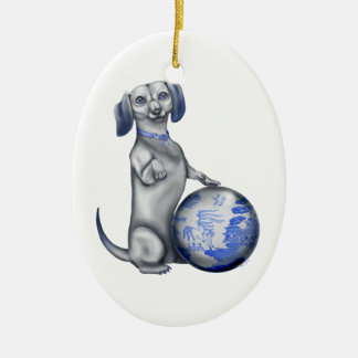 Blue Willow Dachshund Ornament