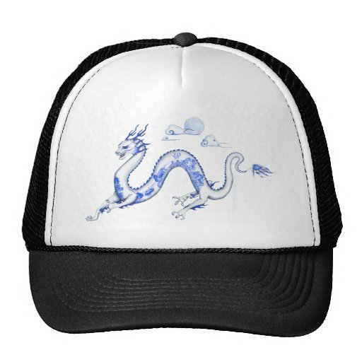 Blue Willow Dragon with White BG Mesh Hats
