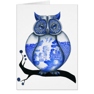 Blue Willow Owl Greeting Cards