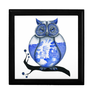 Blue Willow Owl Gift Box