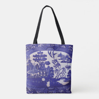 Blue Willow Pattern All Over Tote Bag